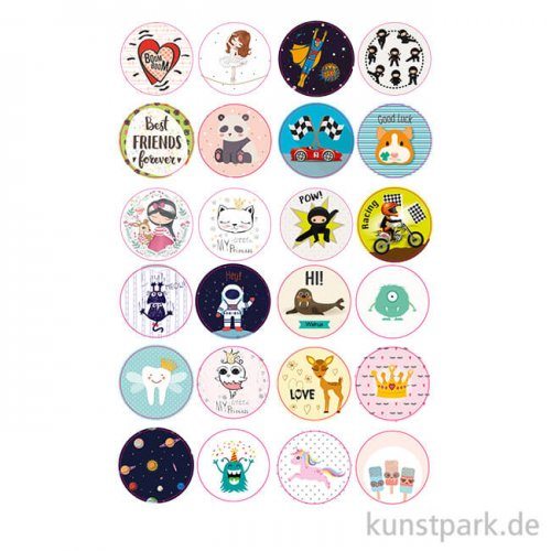 Sticker rund - Kids Time, selbstkebend, 24 Stück sortiert