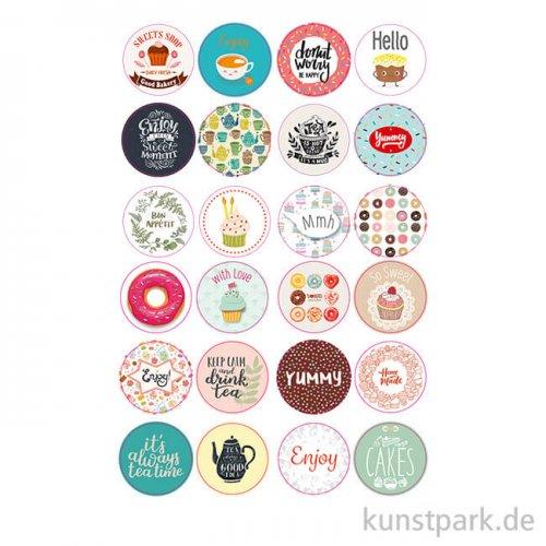 Sticker rund - Tea Time, selbstkebend, 24 Stück sortiert