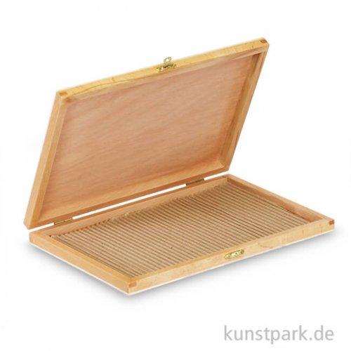 Flacher Stiftekasten aus hellem naturfarbenem Holz