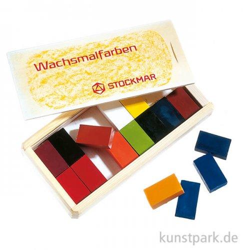 Stockmar Wachsmalblöcke, 16 Farben in heller Holzkassette