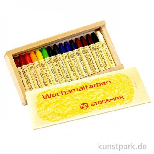 Stockmar Wachsmalstifte, 16 Farben in heller Holzkassette