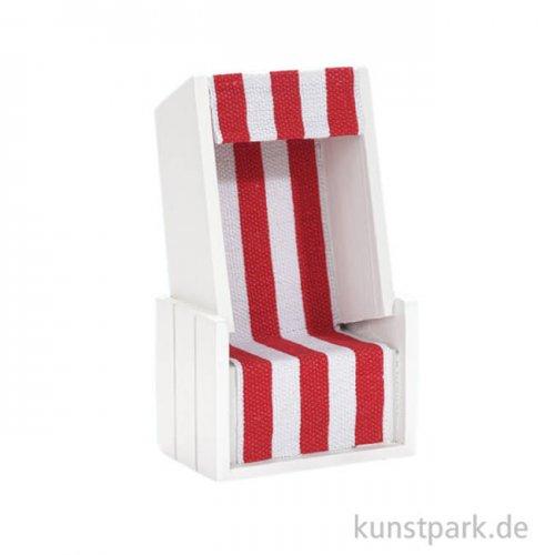 Mini Strandkorb - Rot-Weiß, 12x7x4,5 cm