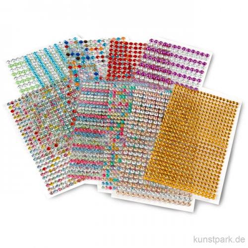 Strassstein-Sticker, selbstklebend, 16x9,5 cm, 10 Blatt sortiert