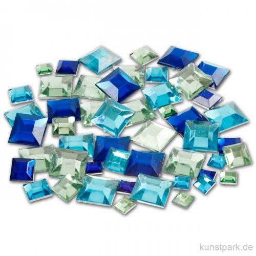Strasssteine - blaue Vierecke, 360 Stück