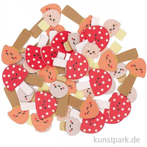 Streudeko Pilze aus Holz, 48 Stück sortiert
