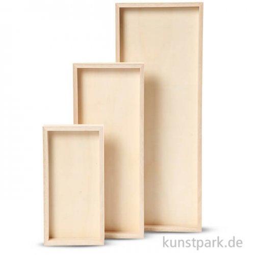 Tablett aus hellem Holz - rechteckig, 20 - 40 cm, 3 Stück sortiert