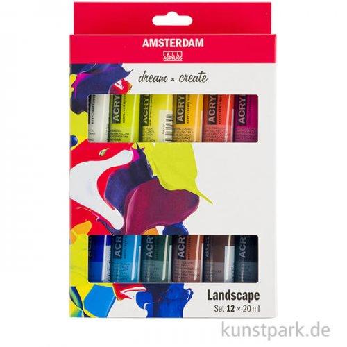 Talens AMSTERDAM Acrylfarben Set mit 12 x 20 ml - Landschaftsfarben