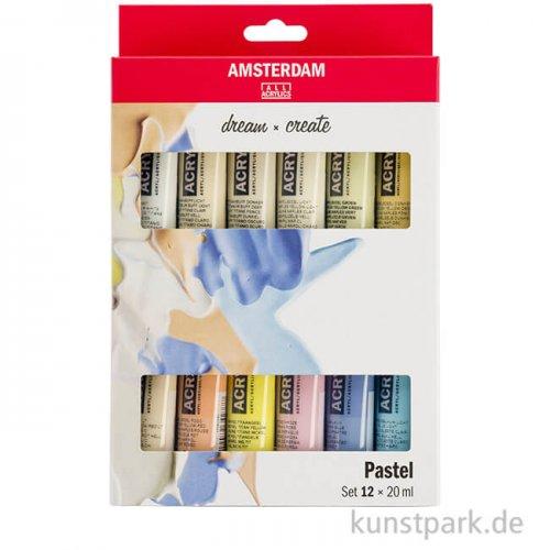 Talens AMSTERDAM Acrylfarben Set mit 12 x 20 ml - Pastellfarben