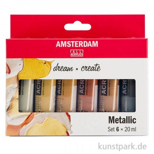 Talens AMSTERDAM Acrylfarben Set mit 6 x 20 ml - Metallicfarben