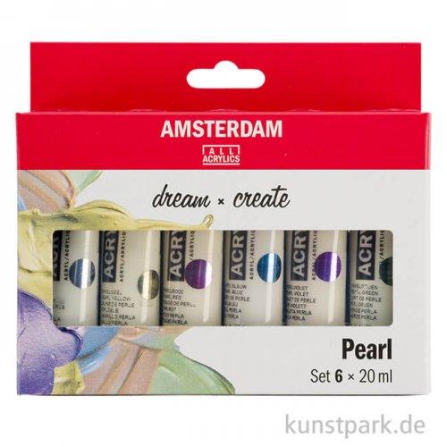 Talens AMSTERDAM Acrylfarben Set mit 6 x 20 ml - Pearlfarben