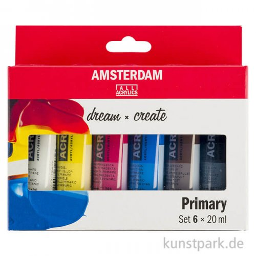 Talens AMSTERDAM Acrylfarben Set mit 6 x 20 ml - Primärfarben