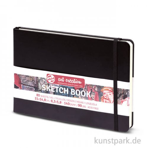 Talens Art Creation - Skizzenbuch Schwarz, 80 Blatt, 140g 14,8 x 21 cm