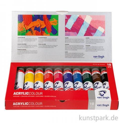 Talens VAN GOGH Acrylfarbe Basis-Set mit 10 Tuben 40 ml im Karton