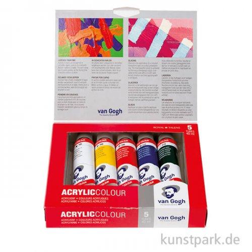 Talens VAN GOGH Acrylfarbe Starterset mit 5 x 40 ml Tuben im Karton