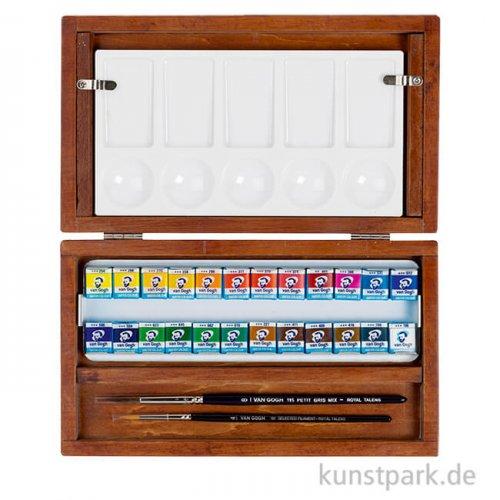 Talens VAN GOGH Aquarell - Holzkasten mit 24 halbe Näpfchen + Zubehör