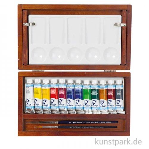 Talens VAN GOGH Aquarellfarbe Holzkasten mit 12 Tuben und Pinseln