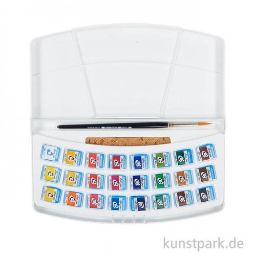 Talens VAN GOGH Aquarellfarbe Kunststoff-Set mit 24 halben Näpfchen