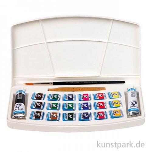 Talens VAN GOGH Aquarell Kunststoffbox mit 18 halben Napf und Zubehör
