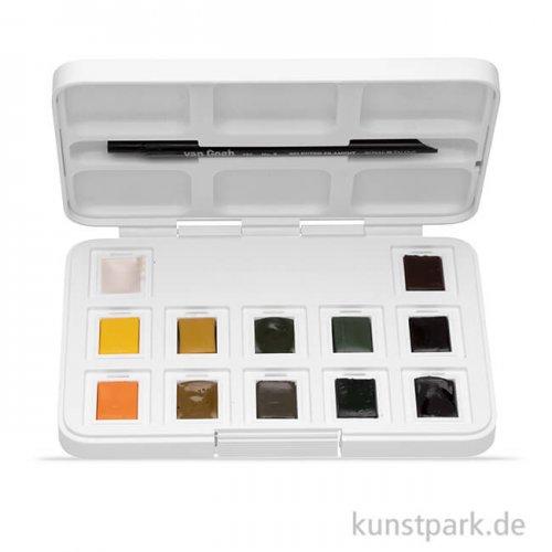 Talens VAN GOGH Aquarell Pocket Box Naturfarben, 12 halbe Napf