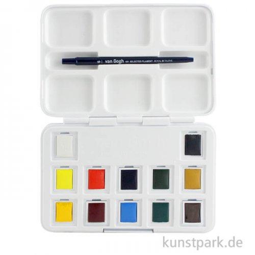 Talens VAN GOGH Aquarell Pocket Box mit 12 halben Näpfen und Zubehör