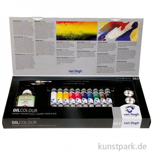 Talens VAN GOGH Ölfarbe Kombi-Set mit 10x20 ml im Karton mit Zubehör