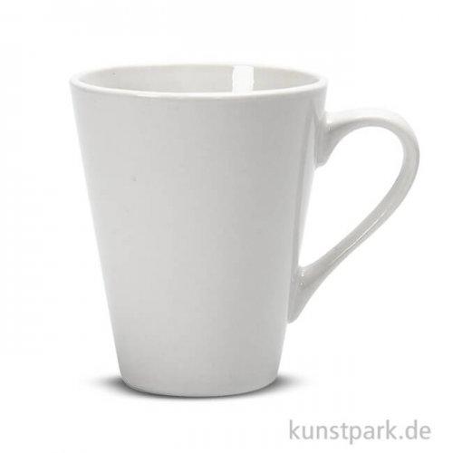 Tasse aus Porzellan zum Bemalen - Weiß, Höhe 10 cm