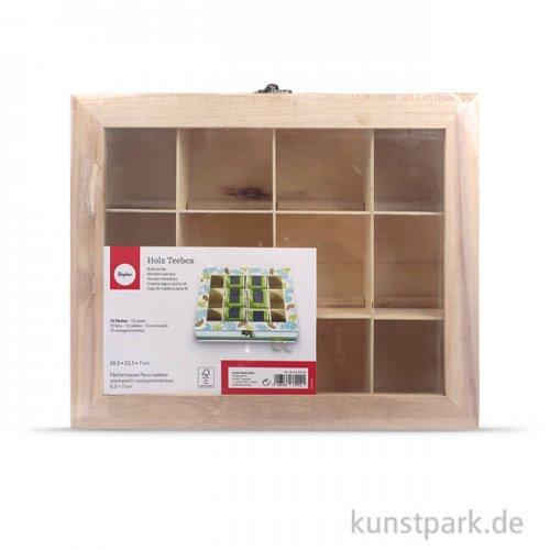 Teebox aus Holz mit 12 Fächern, 28,5x23,5x7 cm