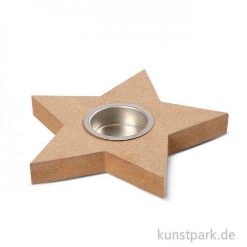 Teelichthalter aus Holz - Stern, 15 cm