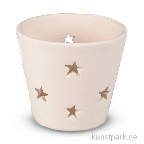 Teelichthalter aus Terracotta mit Sternen, Höhe 6,5 cm