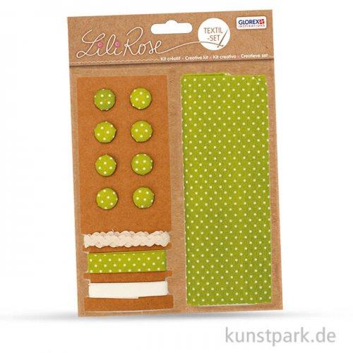 Textil-Set grüne Punkte - 3x1 m Band und 8 Knöpfe