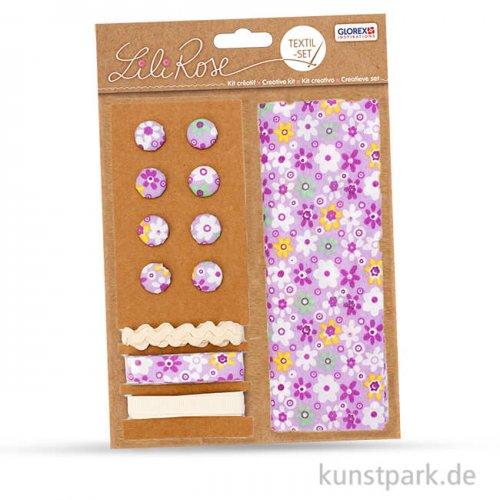 Textil-Set lila Blumen - 3x1 m Band und 8 Knöpfe