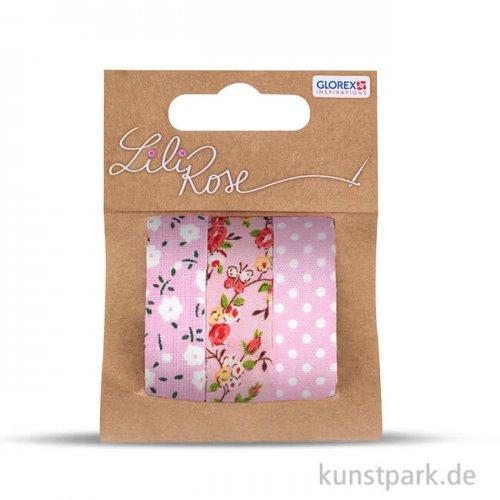 Textilbänder selbstklebend - Set Rosa 3, 3x1 m