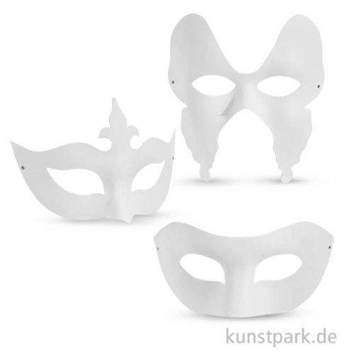 Theater-Masken aus kräftigem Karton, 10-20 cm, 12 Stück sortiert