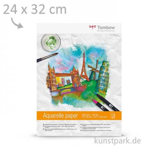 Tombow Aquarellblock, 15 Blatt, 300g, 24x32 cm
