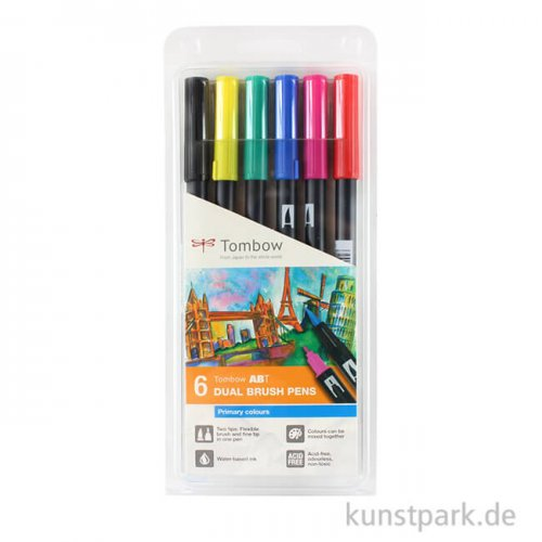 Tombow Dual Brush Pen - Set 6 Grundfarben