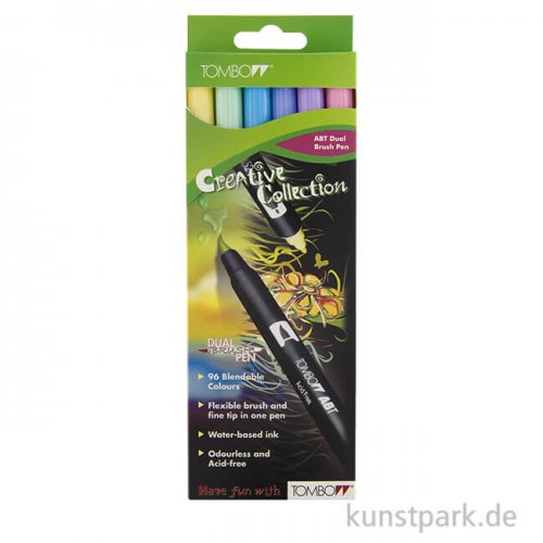Tombow Dual Brush Pen - Set 6 Pastellfarben