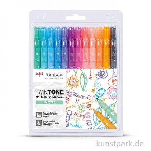 Tombow Doppelfasermaler TwinTone, 12 Stifte Set - Pastellfarben