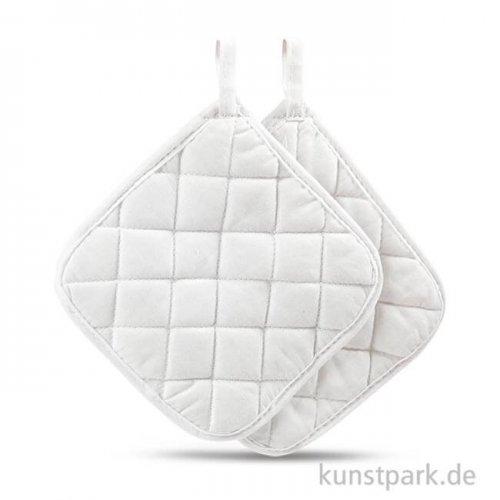 Topflappen aus Baumwolle - Weiß, 20x20 cm, 4 Stück
