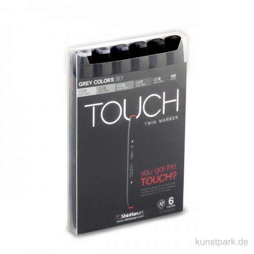 TOUCH Twin Marker Set 6er - Grey Colors