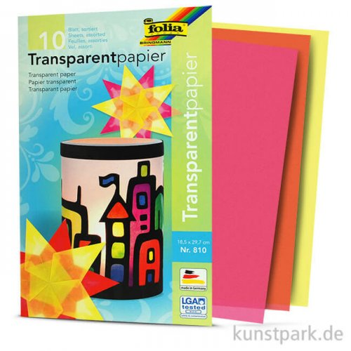 Transparentpapier Set, 18,5x29,7 cm, 42g, 10 Blatt farbig sortiert