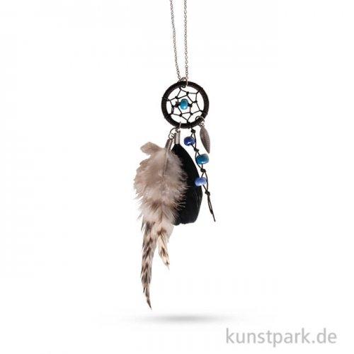 Traumfänger-Kette Luna - Silber-Schwarz, 83 cm