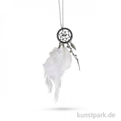 Traumfänger-Kette Luna - Silber-Weiß, 83 cm