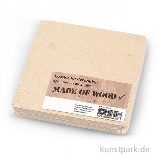 Untersetzer aus Holz, 10x10 cm, Dicke 3 mm