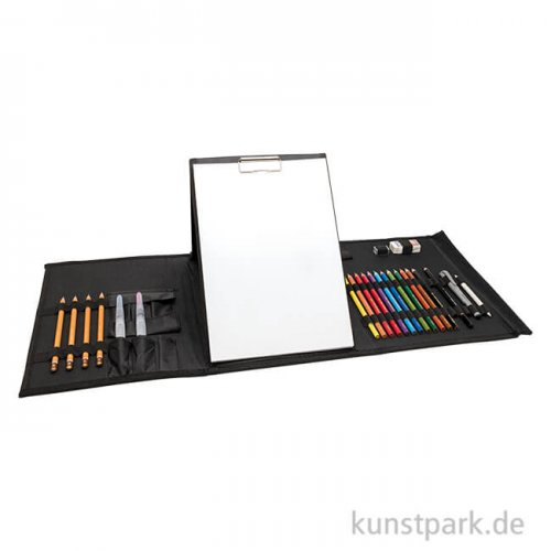 Urban Sketch Set mit 25-teiligem Zubehör in schwarzer Transporttasche