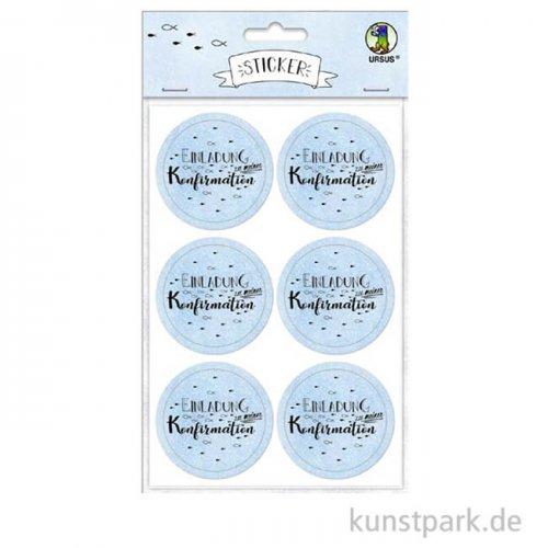 Sticker - Einladung zu meiner Konfirmation, Hellblau, 24 Stück