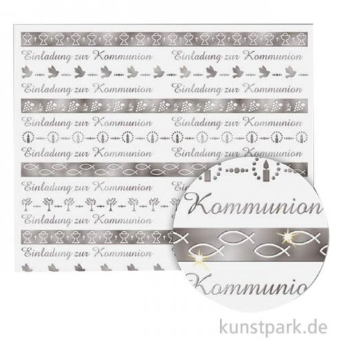 Transparentpapier Kommunion, Bordüre, Silber, DIN A4, 5 Blatt