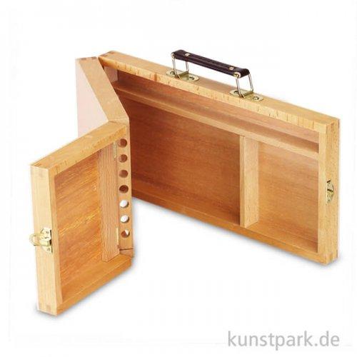 Utensilienkoffer aus hellem Holz, klappbar mit Pinselfächern