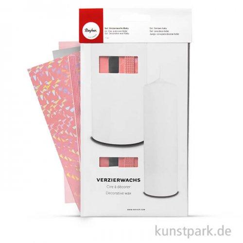 Verzierwachs-Set Baby Rosa-Weiß, 4 Stück farblich sortiert