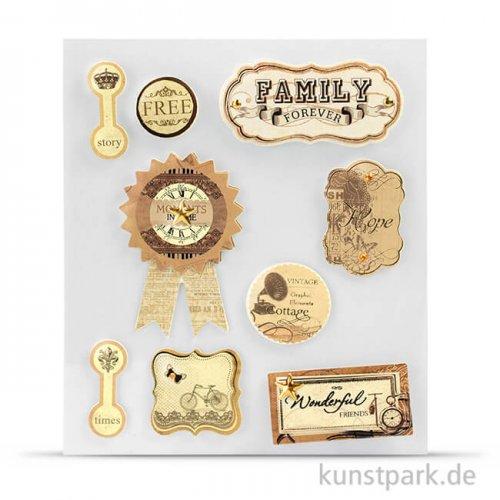 Vintage 3D-Sticker - Family, selbstklebend, 9 Stück sortiert