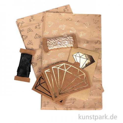 Vintage Kraft Gift Bag Set mit umfangreichem Zubehör